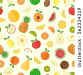 vector fruits and slice... | Shutterstock .eps vector #562324219
