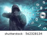 Small photo of Man wearing vendetta mask holding keyboard to shooting system security
