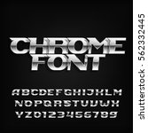chrome alphabet font. metallic... | Shutterstock .eps vector #562332445