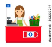 cashier lady at her workplace.... | Shutterstock .eps vector #562333249