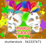 carnival mask with feathers.... | Shutterstock .eps vector #562337671