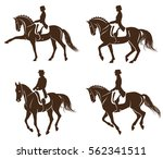 4 detailed silhouettes of... | Shutterstock .eps vector #562341511