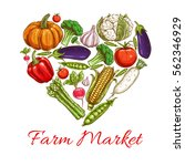 vegetable in heart shape poster ... | Shutterstock .eps vector #562346929