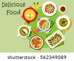 nutritious dinner icon with... | Shutterstock .eps vector #562349089