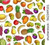 fruits pattern of mango  lemon... | Shutterstock .eps vector #562349101