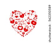 red heart. set fine details.... | Shutterstock .eps vector #562350589