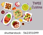 dinner dishes with fruits icon... | Shutterstock .eps vector #562351099