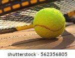 tennis balls and racquet | Shutterstock . vector #562356805