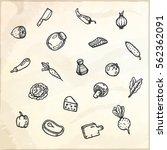 set of food hand drawn doodles. ... | Shutterstock .eps vector #562362091