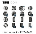 vector flat tire icons set on... | Shutterstock .eps vector #562362421