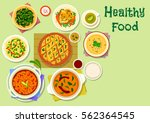 indian cuisine thali dishes and ... | Shutterstock .eps vector #562364545