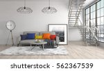 interior with sofa. 3d... | Shutterstock . vector #562367539