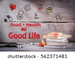 healthy lifestyle concept.... | Shutterstock . vector #562371481