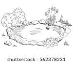 pond graphic black white... | Shutterstock .eps vector #562378231