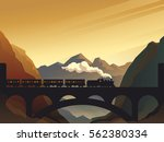 train on railway bridge with... | Shutterstock .eps vector #562380334