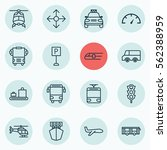 set of 16 transportation icons. ... | Shutterstock .eps vector #562388959