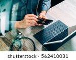 top view of medical doctor hand ... | Shutterstock . vector #562410031
