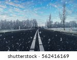 Winter Asphalt Road With Snowy...