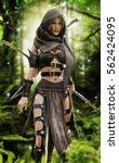 mysterious wood elf warrior in...   Shutterstock . vector #562424095