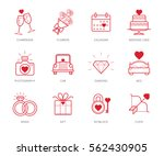 wedding icons set with red... | Shutterstock .eps vector #562430905