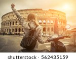 woman tourist near the coliseum ... | Shutterstock . vector #562435159