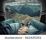 couple in car. blonde female... | Shutterstock . vector #562435201
