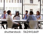 manager talks to business... | Shutterstock . vector #562441669