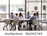 business team look to manager... | Shutterstock . vector #562441765