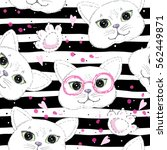 cute cats seamless pattern... | Shutterstock .eps vector #562449871