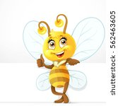 cute bee with big white banner... | Shutterstock .eps vector #562463605
