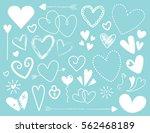 white doodle heart designs on... | Shutterstock . vector #562468189