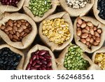 Various Of Legumes Seed In...