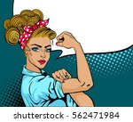 pop art sexy strong woman.... | Shutterstock .eps vector #562471984