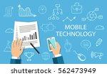 mobile technology concept. flat ...   Shutterstock .eps vector #562473949