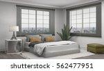 bedroom interior. 3d... | Shutterstock . vector #562477951