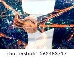 double exposure of business... | Shutterstock . vector #562483717