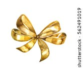 Graceful Golden Bow Isolated O...