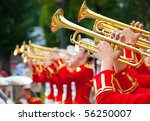 Girl brass band in red uniform...