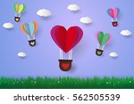hot air balloons in a heart... | Shutterstock .eps vector #562505539