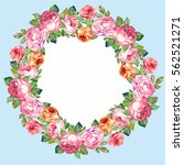 watercolor.cute wreath with... | Shutterstock . vector #562521271