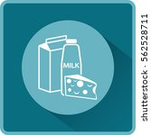 flat icon. milk and cheese.... | Shutterstock .eps vector #562528711