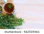 glass of rosemary herb tea ... | Shutterstock . vector #562535461