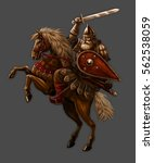 russian warrior hero in armor... | Shutterstock . vector #562538059