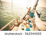 happy multiracial friends... | Shutterstock . vector #562544305
