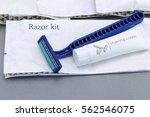 hotel amenities kit on gray... | Shutterstock . vector #562546075