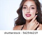 brunette woman girl with long... | Shutterstock . vector #562546219