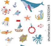 sea animals and life seamless... | Shutterstock .eps vector #562552345