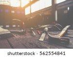 vintage tone of equipment on... | Shutterstock . vector #562554841