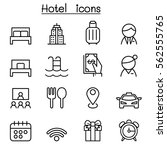 hotel icon set in thin line... | Shutterstock .eps vector #562555765