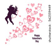 valentines day card design with ... | Shutterstock . vector #562559449